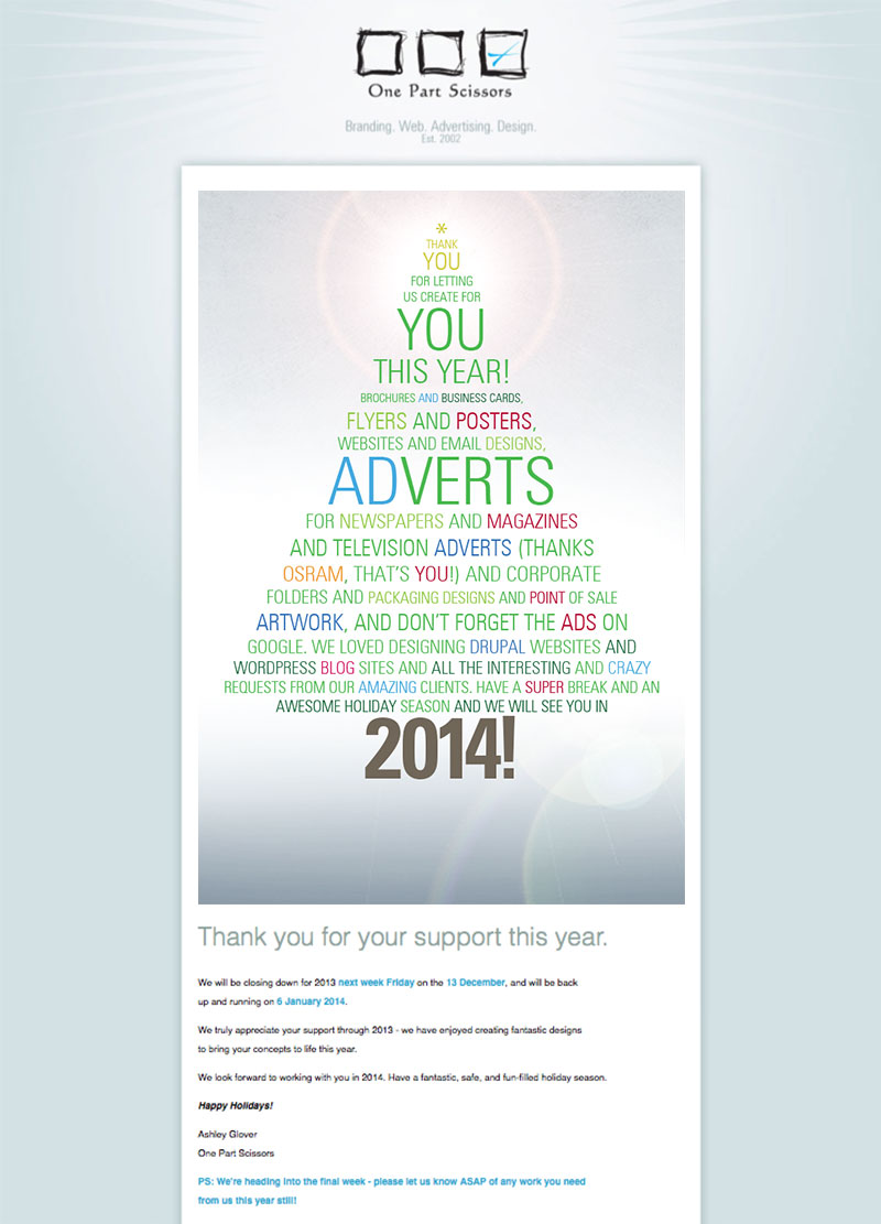 One Part Scissors Christmas Emailer 2013
