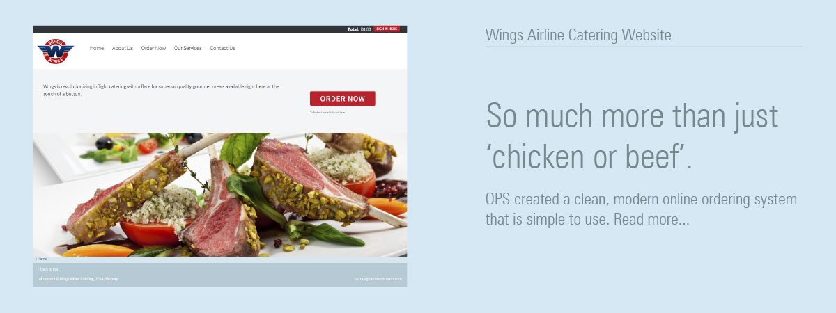 Wings Airline Catering Website